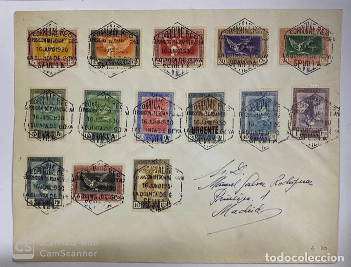 SOBRE. QUINTA DE GOYA.COMPLETA(EDIFIL 517/30).AÑO 1930.CON SELLO EXPOSICION IBEROAMERICANA SEVILLA (Sellos - Historia Postal - Sello Español - Sobres Circulados)
