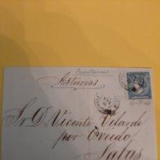 Sellos: 1866 ENVÍO SALAS ASTURIAS POR OVIEDO DIRIGIDO PUENTECESURES PONTEVEDRA SELLO EDIFIL 88 4 CUARTOS. Lote 190802160