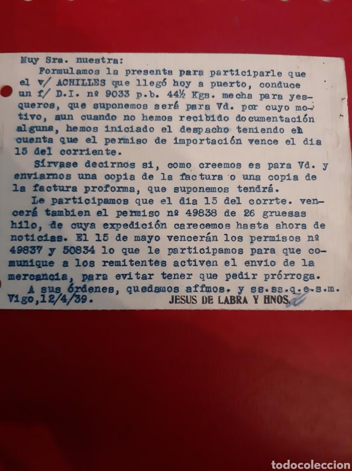 Sellos: 1939 censura Vigo Jesús de Labra y hermanos foto Franco postal - Foto 2 - 190935538