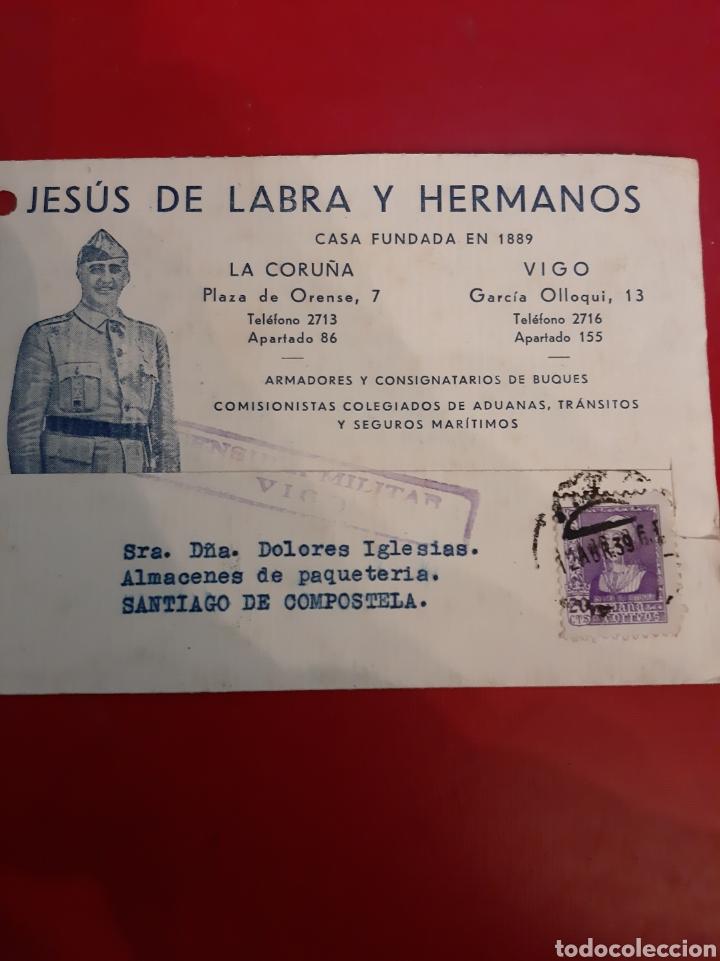 1939 CENSURA VIGO JESÚS DE LABRA Y HERMANOS FOTO FRANCO POSTAL (Sellos - Historia Postal - Sello Español - Sobres Circulados)
