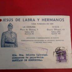 Sellos: 1939 CENSURA VIGO JESÚS DE LABRA Y HERMANOS FOTO FRANCO POSTAL. Lote 190935538