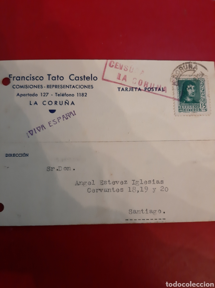 1938 LA CORUÑA CESURA II AÑO TRIUNFAL VIVA ESPAÑA (Sellos - Historia Postal - Sello Español - Sobres Circulados)