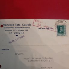 Sellos: 1938 LA CORUÑA CESURA II AÑO TRIUNFAL VIVA ESPAÑA. Lote 190937360