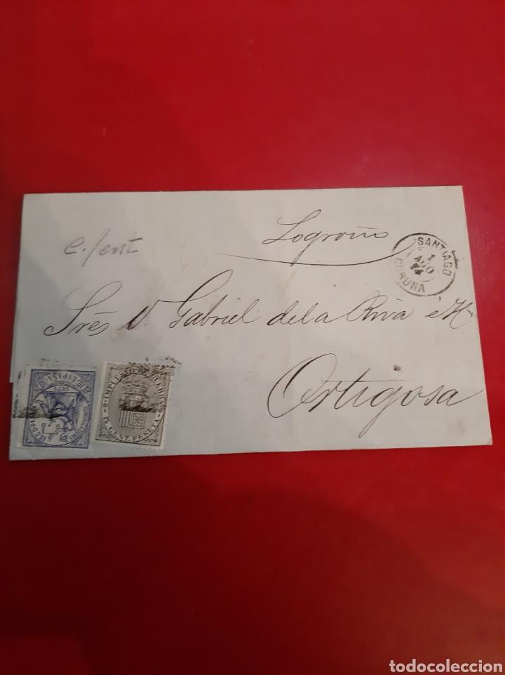 1874 SANTIAGO LA CORUÑA ORTIGUEIRA EDIFIL 145 ALEGORÍA (Sellos - Historia Postal - Sello Español - Sobres Circulados)