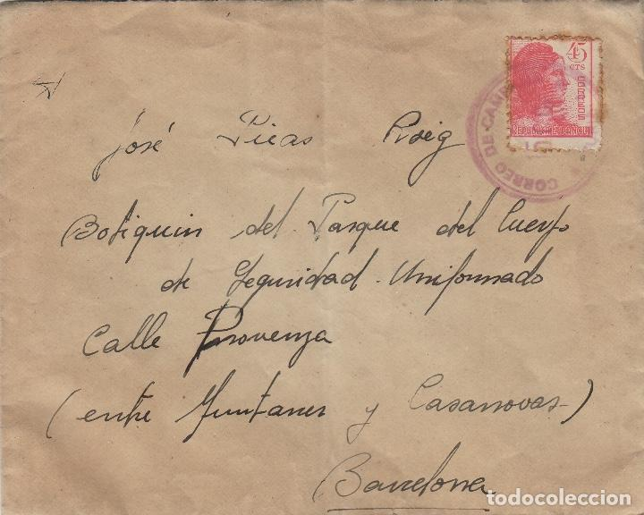 SOBRE DE CARTA CORREO DE CAMPAÑA RECIBIDA 1938 DEST BOTIQUÍN , BARCELONA (Sellos - Historia Postal - Sello Español - Sobres Circulados)