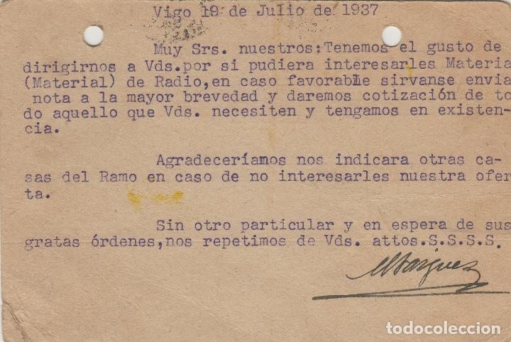 Sellos: TARJETA POSTAL patriótica FRANCO de VIGO a PALENCIA 1937 CENSURA MILITAR VIGO. FALTA SELLO - Foto 2 - 190987785