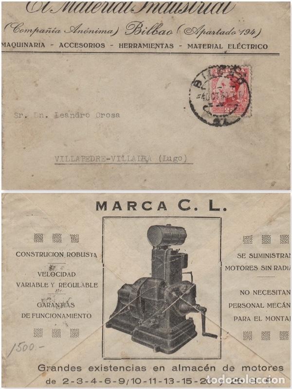 SOBRE COMERCIAL MEMB EL MATERIAL INDUSTRIAL BILBAO AÑO 1930 . (Sellos - Historia Postal - Sello Español - Sobres Circulados)