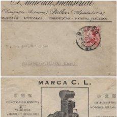 Sellos: SOBRE COMERCIAL MEMB EL MATERIAL INDUSTRIAL BILBAO AÑO 1930 . . Lote 190992290