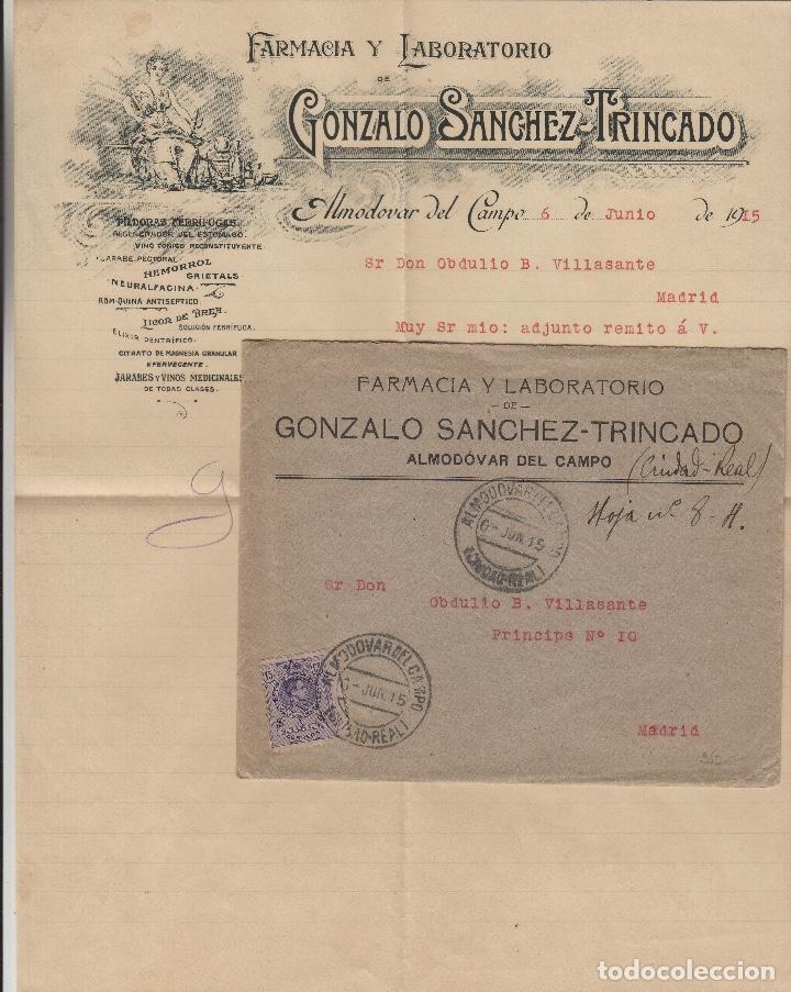 SOBRE COMERCIAL MEMB FARMACIA GONZALO SÁNCHEZ TRINCADO , ALMODOVAR DEL CAMPO ( CIUDAD REAL ) 1915 . (Sellos - Historia Postal - Sello Español - Sobres Circulados)