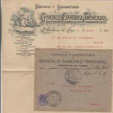 Sellos: SOBRE COMERCIAL MEMB FARMACIA GONZALO SÁNCHEZ TRINCADO , ALMODOVAR DEL CAMPO ( CIUDAD REAL ) 1915 . . Lote 190993103