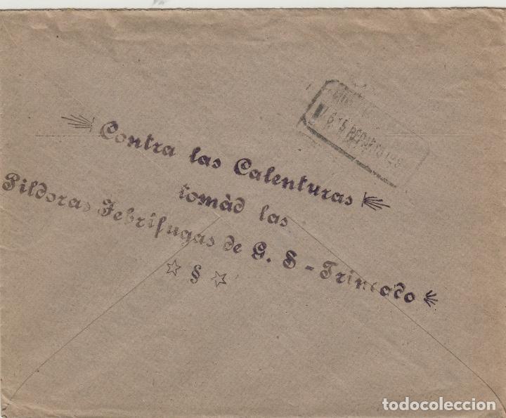 Sellos: SOBRE COMERCIAL memb FARMACIA GONZALO SÁNCHEZ TRINCADO , ALMODOVAR DEL CAMPO ( CIUDAD REAL ) 1915 . - Foto 2 - 190993103