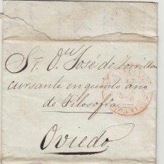 Sellos: PREFILATELIA CANTABRIA AÑO 1848 DE SANTANDER A OVIEDO . FECHADOR BAEZA .CARTA COMPLETA. Lote 190996987
