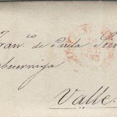 Sellos: PREFILATELIA CANTABRIA AÑO 1851 DE SANTANDER A VALLE . FECHADOR BAEZA .CARTA COMPLETA. Lote 190997137