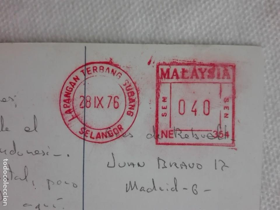 Sellos: 910 POSTAL - MALAYSIAN AIRLINE SYSTEM - FLOR HIBISCUS - FRANQUEO MECANICO 1976 SELANGOR - Foto 1 - 191004225