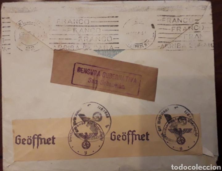 Sellos: OYARZUN RENTERIA - SOBRE CON DOBLE CENSURA: NAZI Y GUBERNATIVA 1944 - TRIPERIA GALLEGA - Foto 2 - 191451057