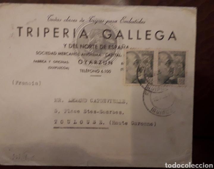 OYARZUN RENTERIA - SOBRE CON DOBLE CENSURA: NAZI Y GUBERNATIVA 1944 - TRIPERIA GALLEGA (Sellos - Historia Postal - Sello Español - Sobres Circulados)