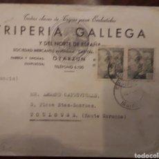Sellos: OYARZUN RENTERIA - SOBRE CON DOBLE CENSURA: NAZI Y GUBERNATIVA 1944 - TRIPERIA GALLEGA. Lote 191451057