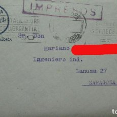 Sellos: + PALMA DE MALLORCA. SOBRE DEL HOTEL ALCINA Y TARGETA DEL MISMO.. Lote 191704265