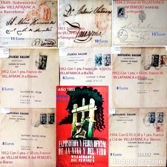 LOTE CON 26 CARTAS Y 11 SELLOS CLASICOS DE ESPAÑA CON MATASELLOS DE VILANOVA Y VILLAFRANCA PENEDES. (Sellos - Historia Postal - Sello Español - Sobres Circulados)