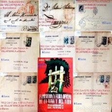 Sellos: LOTE CON 26 CARTAS Y 11 SELLOS CLASICOS DE ESPAÑA CON MATASELLOS DE VILANOVA Y VILLAFRANCA PENEDES.. Lote 192478352
