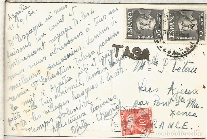 SAN SEBASTIAN TARJETA A FRANCIA TASADA EN DESTINO 1954 SELLOS HERNAN CORTES (Sellos - Historia Postal - Sello Español - Sobres Circulados)