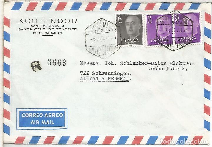 SANTA CRUZ TENERIFE CC CERTIFICADA CON MAT HEXAGONAL CORREO AEREO CERTIFICADO (Sellos - Historia Postal - Sello Español - Sobres Circulados)