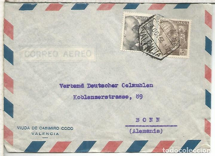 VALENCIA CC COM MAT HEXAGONAL CORREO AEREO SELLOS FRANCO PERFIL (Sellos - Historia Postal - Sello Español - Sobres Circulados)