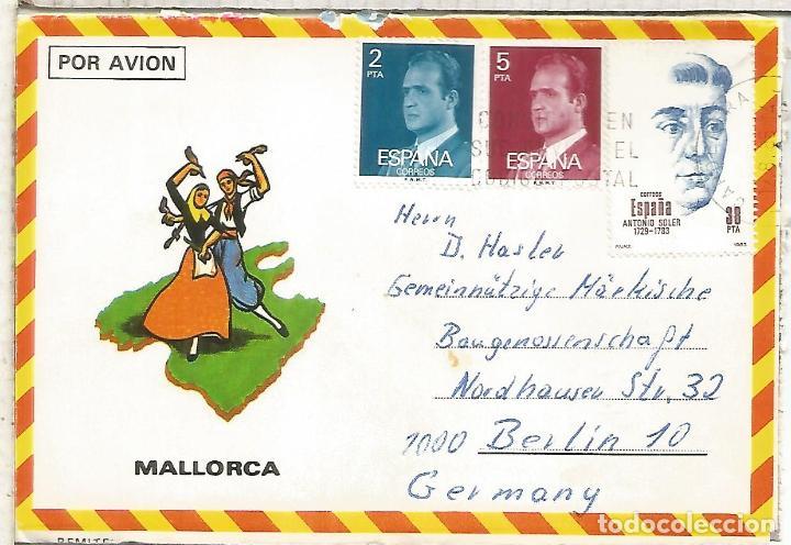 MALLORCA SOBRE TURISTICO SELLO ANTONIO SOLER (Sellos - Historia Postal - Sello Español - Sobres Circulados)