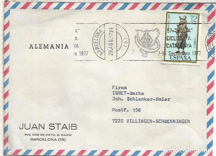 BARCELONA 1977 CC CON MAT RODILLO 57 VOLTA CICLISTA CATALUÑA CICLISMO CYCLING (Sellos - Historia Postal - Sello Español - Sobres Circulados)