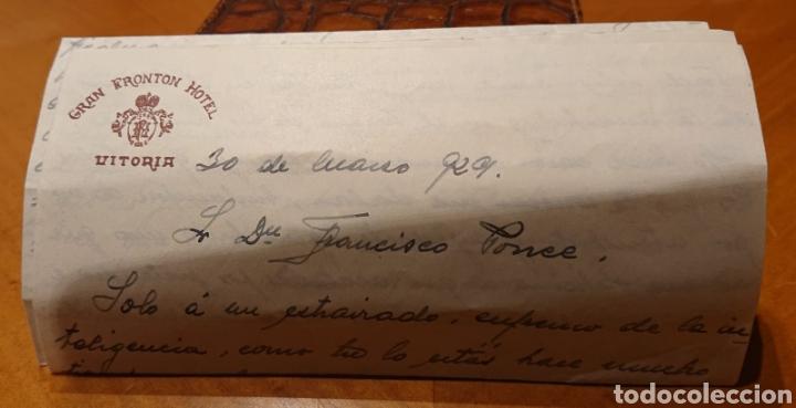 Sellos: Carta circulada, Vitoria a Valladolid. Frontón Hotel. Años 20. - Foto 2 - 194153210