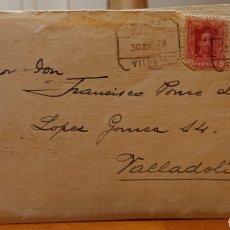 Sellos: CARTA CIRCULADA, VITORIA A VALLADOLID. FRONTÓN HOTEL. AÑOS 20.. Lote 194153210