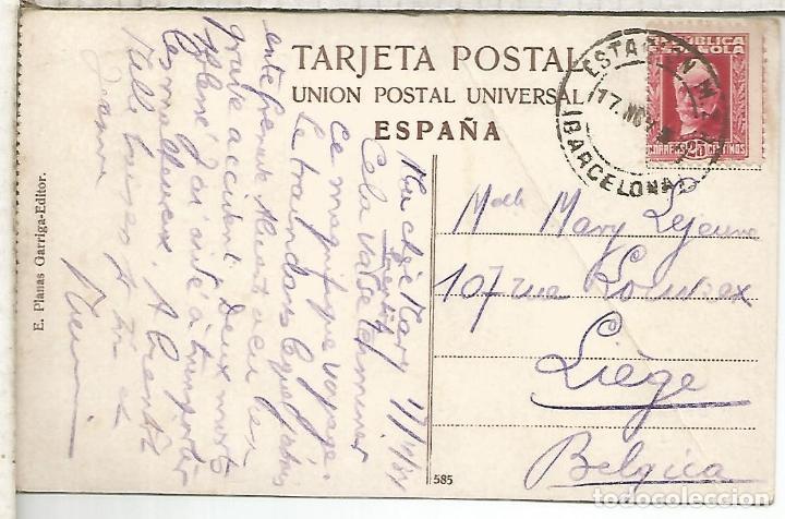 SEGUNDA REPUBLICA TP BARCELONA CON MAT ESTACION MZA FERROCARRIL RAILWAY (Sellos - Historia Postal - Sello Español - Sobres Circulados)