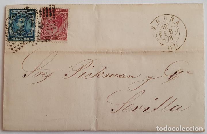 SOBRE CIRCULADO CON SELLOS EDIFIL 175 (1876) Y 188 (1877) (Sellos - Historia Postal - Sello Español - Sobres Circulados)