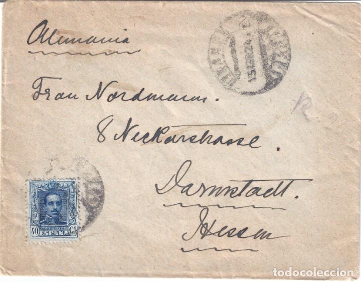 SOBRE DIRIGIDO A ALEMANIA CON EDIFIL 319. MATASELLOS DE FECHA 15-ABRIL-1924. (Sellos - Historia Postal - Sello Español - Sobres Circulados)