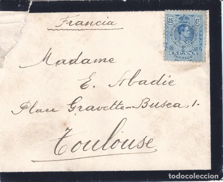 SOBRE DE LUTO DIRIGIDO A TOULOUSE CON EDIFIL 274 SIN MATASELLO. (Sellos - Historia Postal - Sello Español - Sobres Circulados)