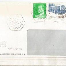 Sellos: BILBAO CC SELLO PIO BAROJA AUTOBUS BUS LITERATURA MAT HEXAGONAL AVION. Lote 194990726