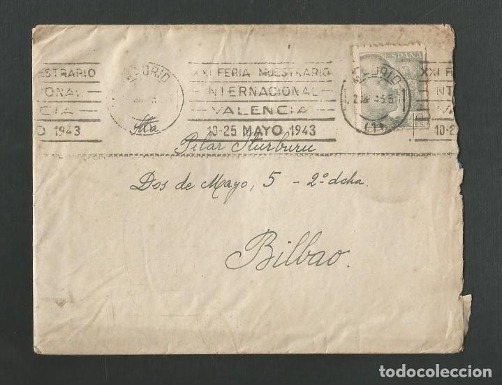 SOBRE CIRCULADO MATASELLOS MADRID - VALENCIA - BILBAO AÑO 1943 (Sellos - Historia Postal - Sello Español - Sobres Circulados)