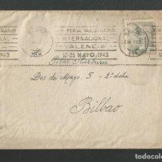Sellos: SOBRE CIRCULADO MATASELLOS MADRID - VALENCIA - BILBAO AÑO 1943. Lote 195260561