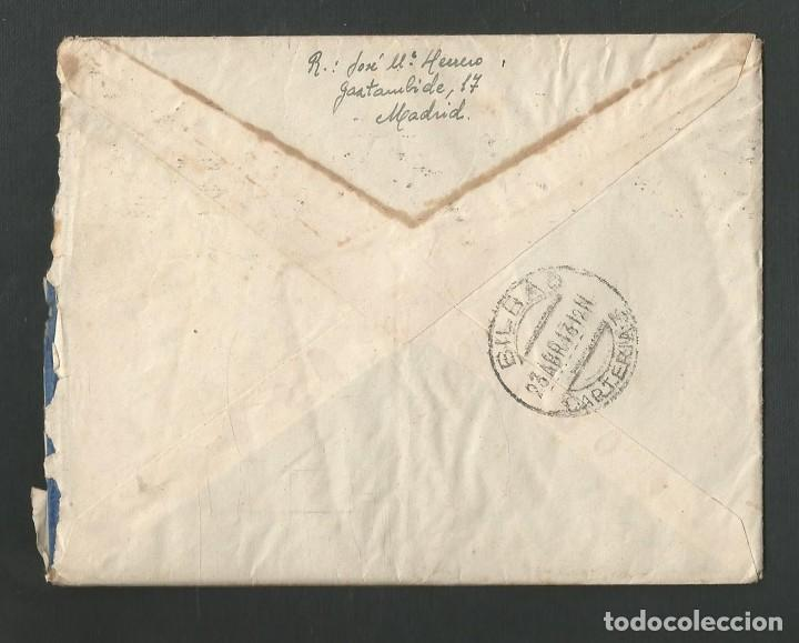 Sellos: SOBRE CIRCULADO MATASELLOS MADRID - VALENCIA - BILBAO AÑO 1943 - Foto 2 - 195260561