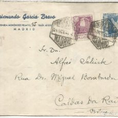 Sellos: MADRID CC 1944 CORREO AEREO PORTUGAL SELLO SANTIAGO BOTAFUMEIRO CATEDRAL CENSURADA. Lote 195492408
