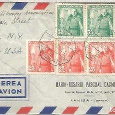 Sellos: CC A USA CON MAT AMBULANTE 1952 ZARAGOZA BARCELONA 3 SELLOS FRANCO Y LA MOTA. Lote 195492562