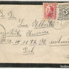 Sellos: SOBRE DE LUTO MILLERADA PONTEVEDRA A USA 1931 SELLO DERECHO DE ENTREGA. Lote 195493825