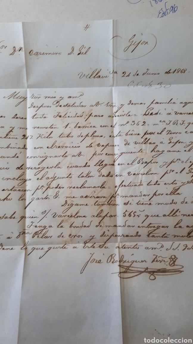 Sellos: CARTA A GIJON CON SELLO EDIFIL 96 DE 1867 CARTA DEL AÑO 1868 C292 - Foto 3 - 197926603
