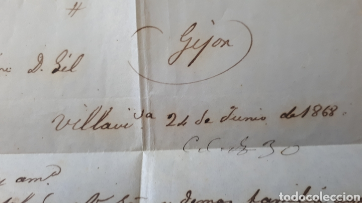 Sellos: CARTA A GIJON CON SELLO EDIFIL 96 DE 1867 CARTA DEL AÑO 1868 C292 - Foto 4 - 197926603