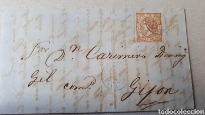 CARTA A GIJON CON SELLO EDIFIL 96 DE 1867 CARTA DEL AÑO 1868 C292 (Sellos - Historia Postal - Sello Español - Sobres Circulados)