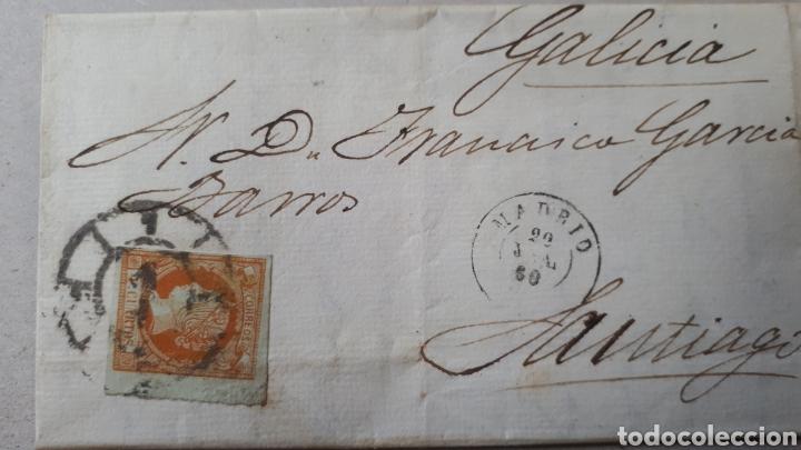 CARTA DE MADRID A GALICIA AÑO 1860 CON SELLO EDIF. 52 C294 (Sellos - Historia Postal - Sello Español - Sobres Circulados)