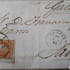 Sellos: CARTA DE MADRID A GALICIA AÑO 1860 CON SELLO EDIF. 52 C294. Lote 197929455