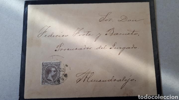 CARTA ENVIADACDESDE BADAJOZ AÑO 1897 CON SELLO EDIF. 219 C296 (Sellos - Historia Postal - Sello Español - Sobres Circulados)