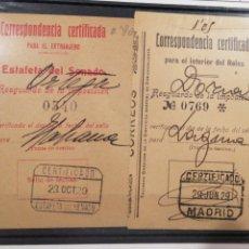 Sellos: CORRESPONDIENCIA CERTIFICADA SENADO MADRID 1929 DOS RECIBOS. Lote 198049812