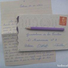 Sellos: CARTA CIRCULADA DE TOTANA ( MURCIA )A GUADALEMA DE LOS QUINTEROS UTRERA, SEVILLA, 1960. SELLO FRANCO. Lote 198838691